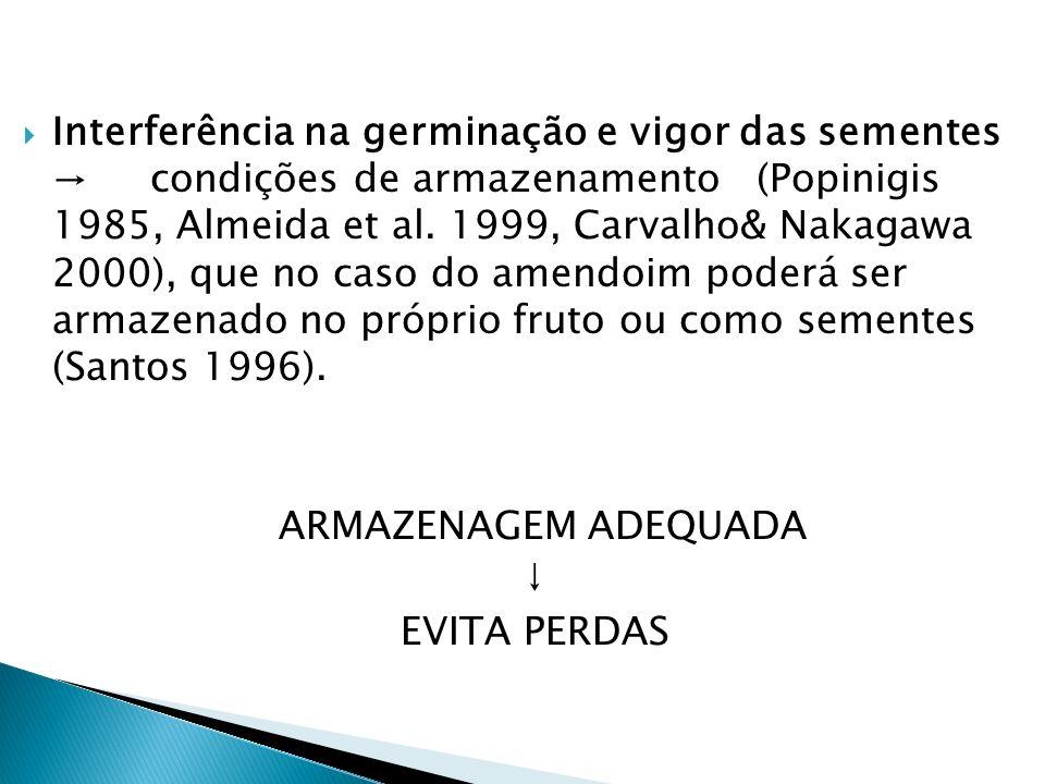 Interferência na germinação e vigor das sementes → condições de armazenamento (Popinigis 1985, Almeida et al. 1999, Carvalho& Nakagawa 2000), que no caso do amendoim poderá ser armazenado no próprio fruto ou como sementes (Santos 1996).