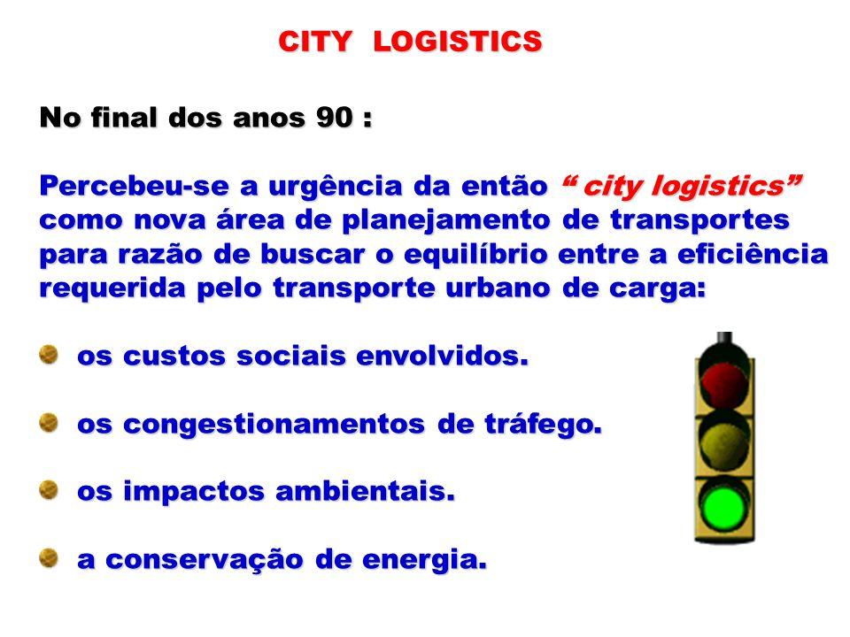 CITY LOGISTICS No final dos anos 90 : Percebeu-se a urgência da então city logistics como nova área de planejamento de transportes.
