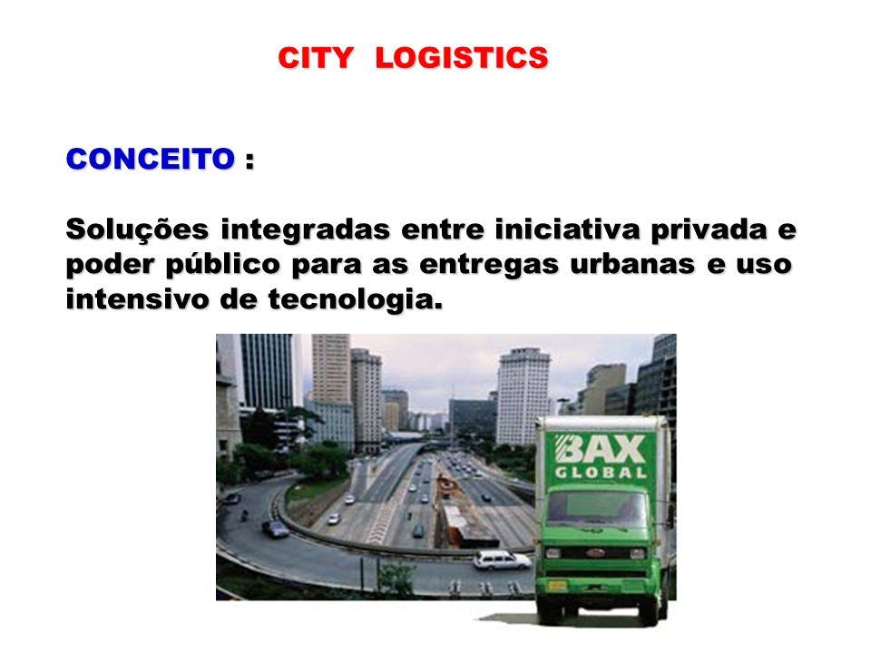 CITY LOGISTICSCONCEITO : Soluções integradas entre iniciativa privada e. poder público para as entregas urbanas e uso.