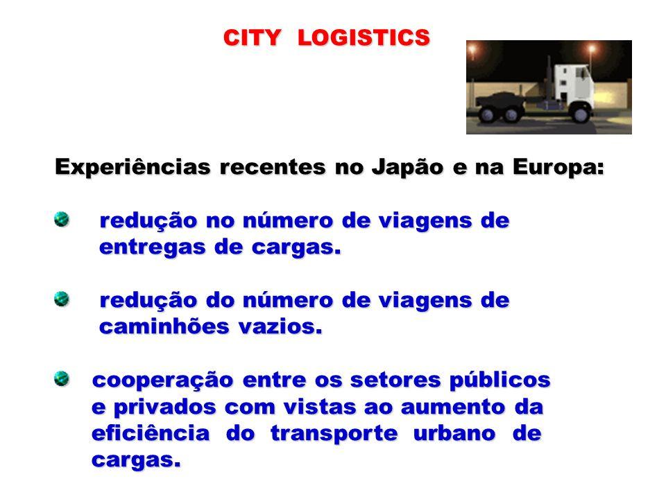 CITY LOGISTICS Experiências recentes no Japão e na Europa: redução no número de viagens de. entregas de cargas.