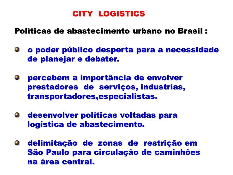 CITY LOGISTICSPolíticas de abastecimento urbano no Brasil : o poder público desperta para a necessidade.