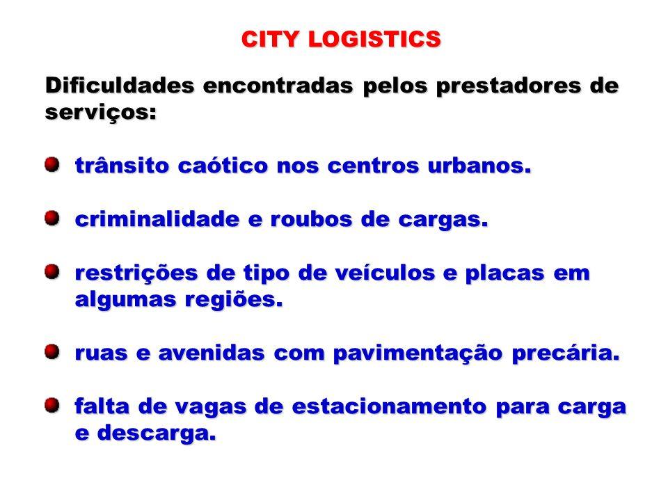 CITY LOGISTICSDificuldades encontradas pelos prestadores de. serviços: trânsito caótico nos centros urbanos.