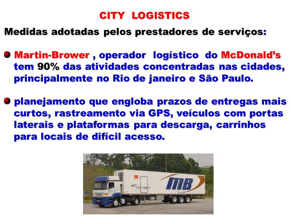 CITY LOGISTICS Medidas adotadas pelos prestadores de serviços: Martin-Brower , operador logístico do McDonald's.
