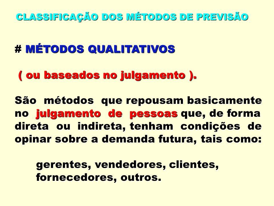 # MÉTODOS QUALITATIVOS ( ou baseados no julgamento ).