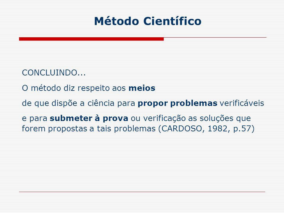 Método Científico CONCLUINDO... O método diz respeito aos meios