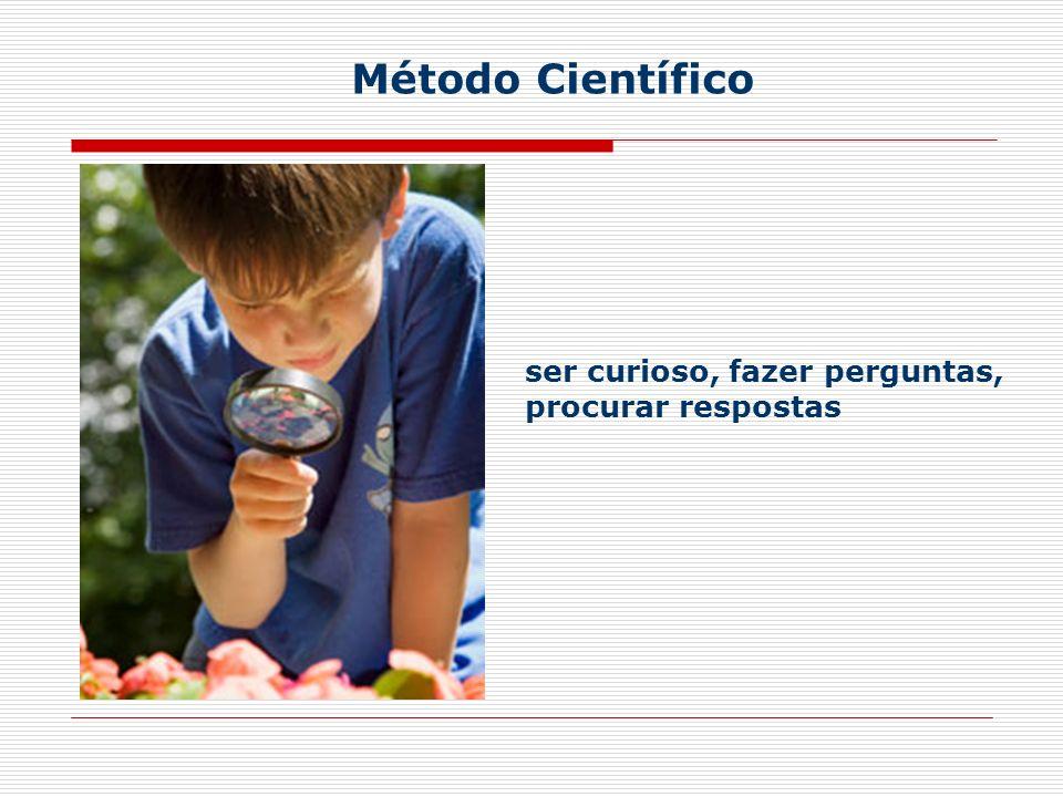 Método Científico ser curioso, fazer perguntas, procurar respostas