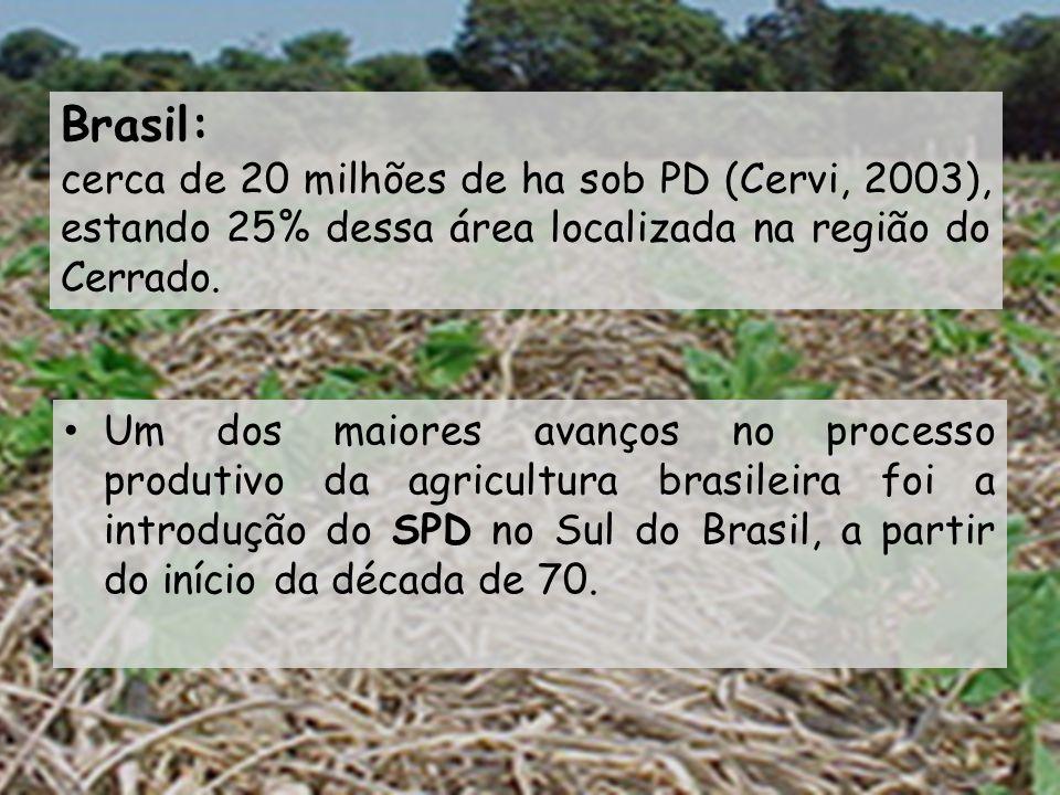 Brasil: cerca de 20 milhões de ha sob PD (Cervi, 2003), estando 25% dessa área localizada na região do Cerrado.