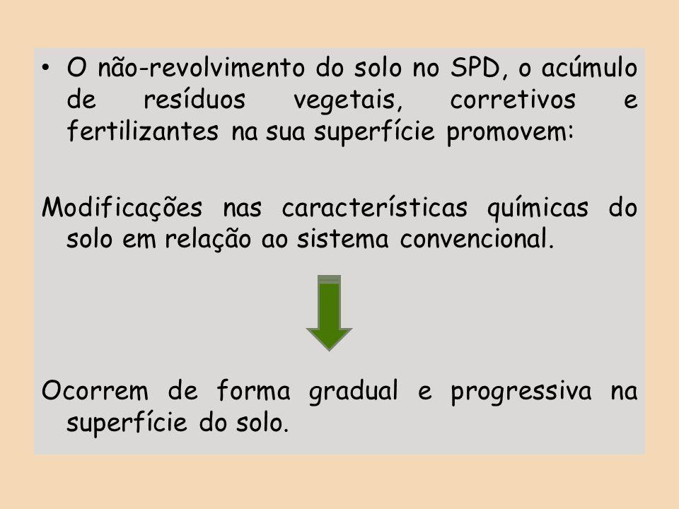 O não-revolvimento do solo no SPD, o acúmulo de resíduos vegetais, corretivos e fertilizantes na sua superfície promovem: