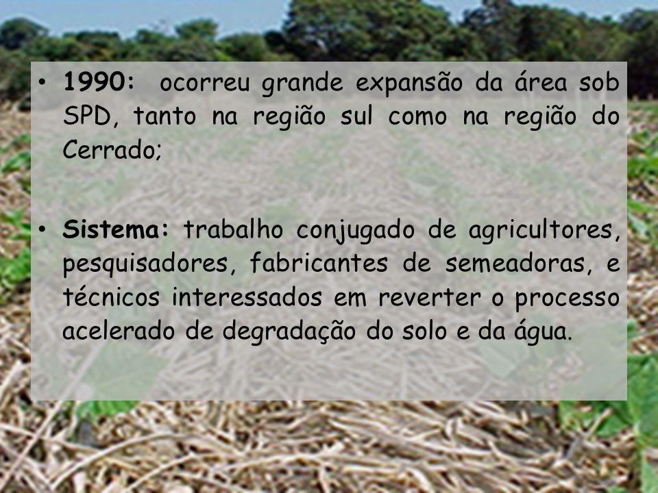 1990: ocorreu grande expansão da área sob SPD, tanto na região sul como na região do Cerrado;