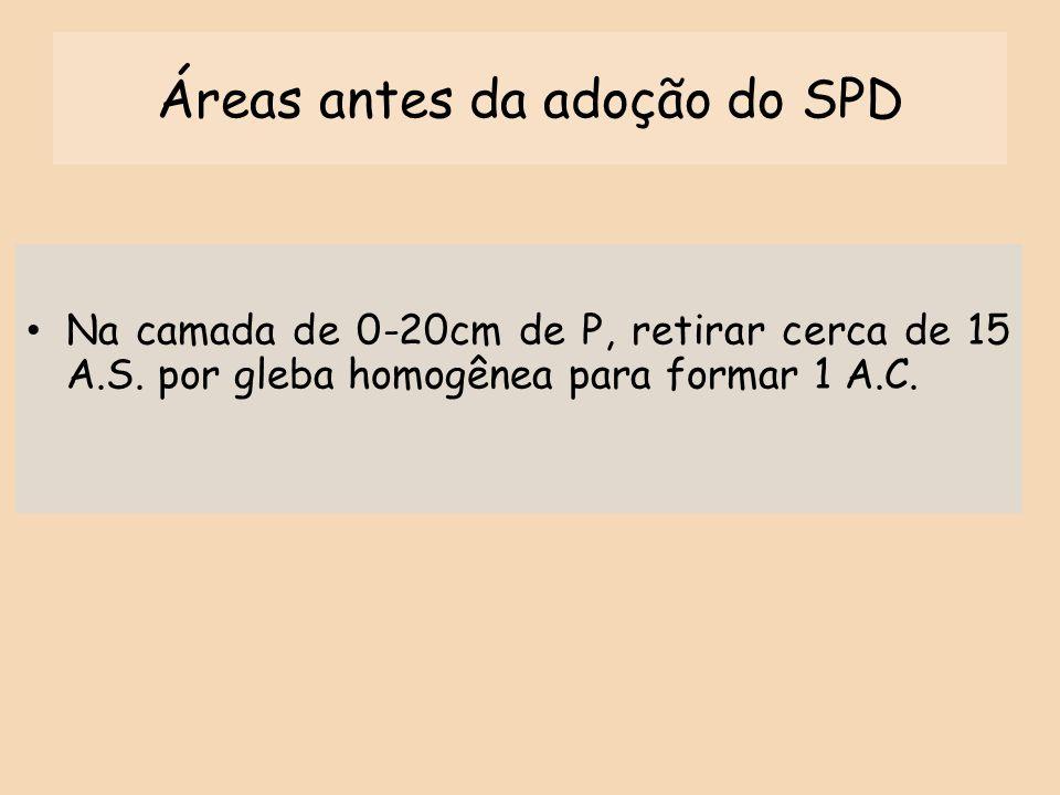 Áreas antes da adoção do SPD
