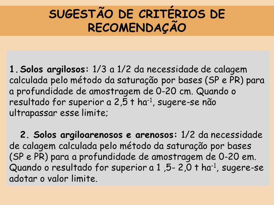SUGESTÃO DE CRITÉRIOS DE RECOMENDAÇÃO