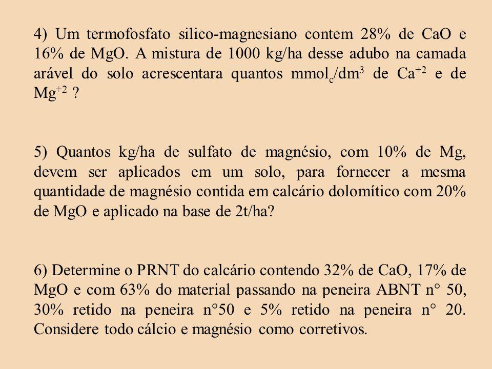 4) Um termofosfato silico-magnesiano contem 28% de CaO e 16% de MgO