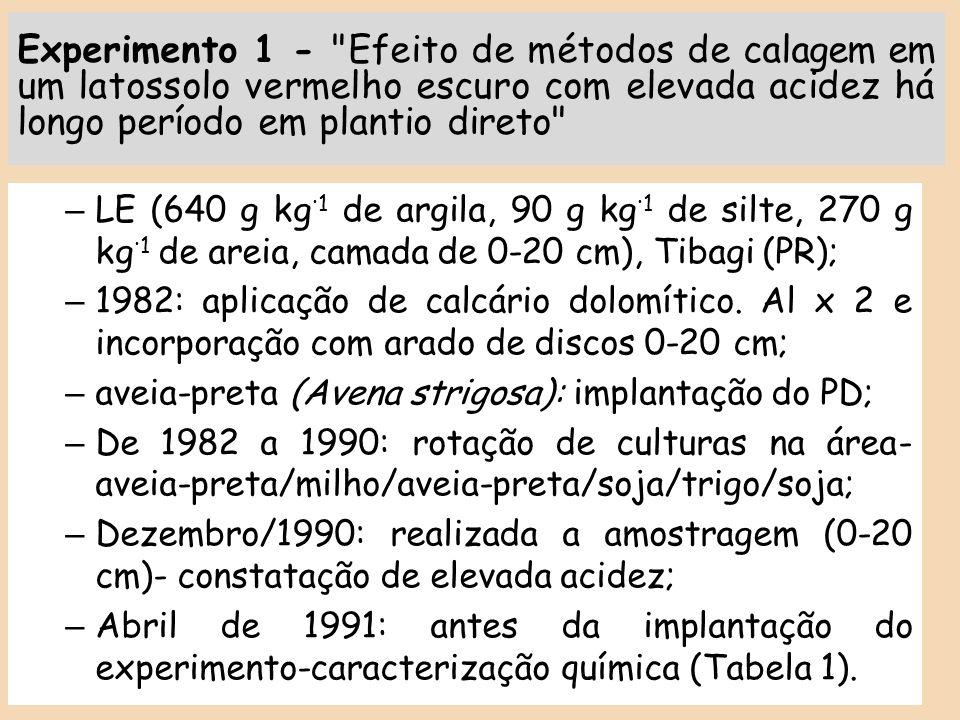 Experimento 1 - Efeito de métodos de calagem em um latossolo vermelho escuro com elevada acidez há longo período em plantio direto