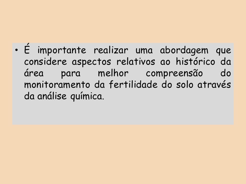 É importante realizar uma abordagem que considere aspectos relativos ao histórico da área para melhor compreensão do monitoramento da fertilidade do solo através da análise química.
