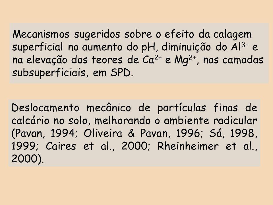 Mecanismos sugeridos sobre o efeito da calagem superficial no aumento do pH, diminuição do Al3+ e na elevação dos teores de Ca2+ e Mg2+, nas camadas subsuperficiais, em SPD.