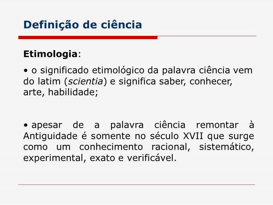 Definição de ciência Etimologia: