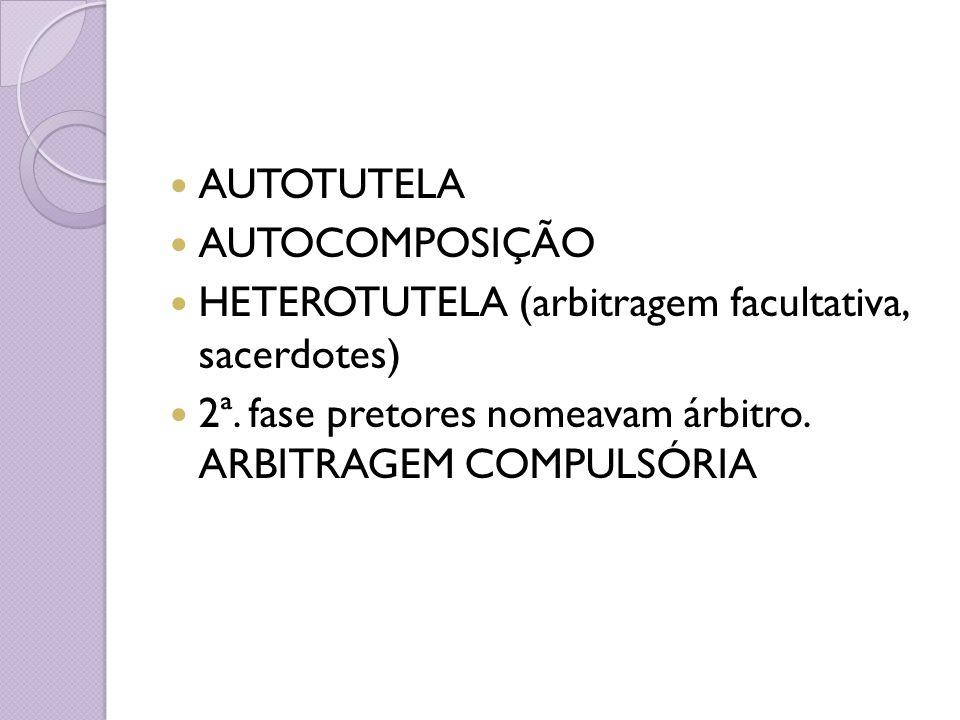 AUTOTUTELA AUTOCOMPOSIÇÃO. HETEROTUTELA (arbitragem facultativa, sacerdotes) 2ª.