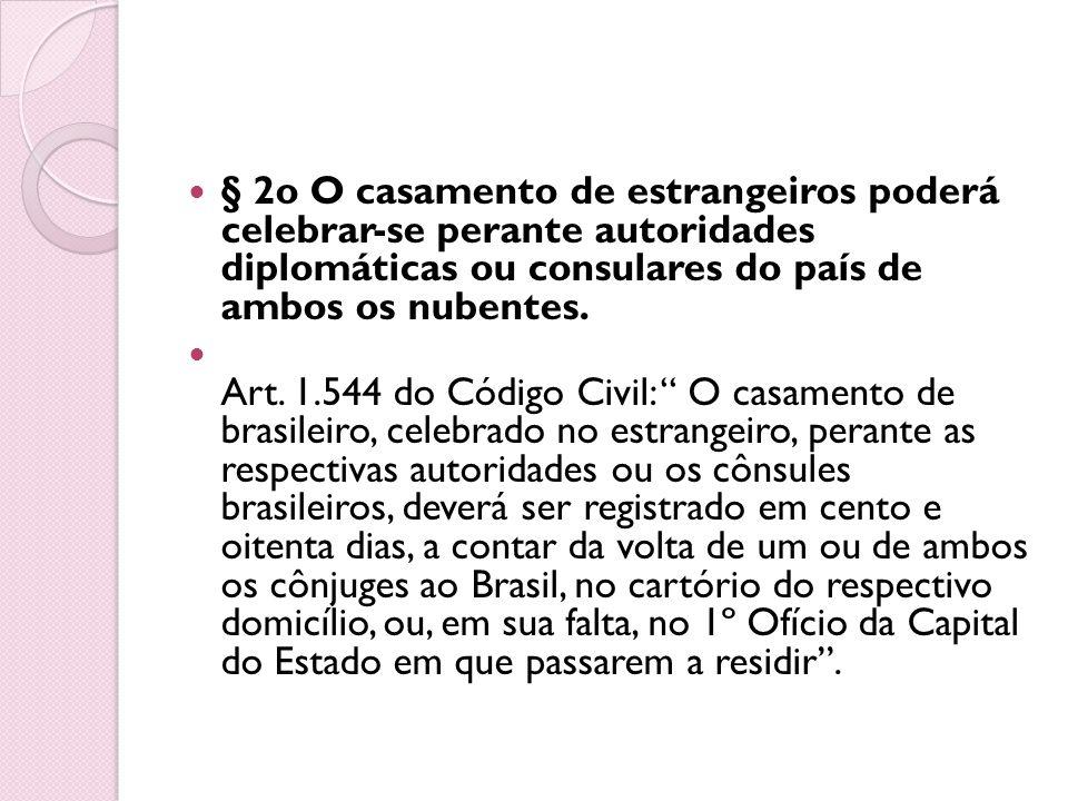§ 2o O casamento de estrangeiros poderá celebrar-se perante autoridades diplomáticas ou consulares do país de ambos os nubentes.