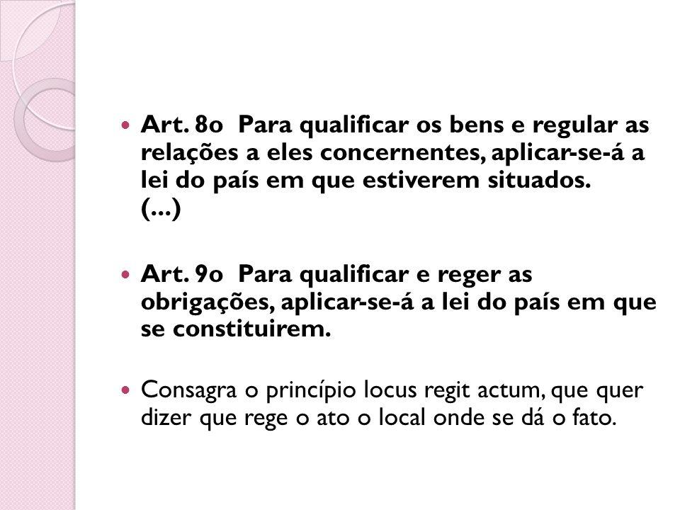 Art. 8o Para qualificar os bens e regular as relações a eles concernentes, aplicar-se-á a lei do país em que estiverem situados. (...)