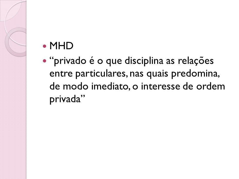 MHD privado é o que disciplina as relações entre particulares, nas quais predomina, de modo imediato, o interesse de ordem privada