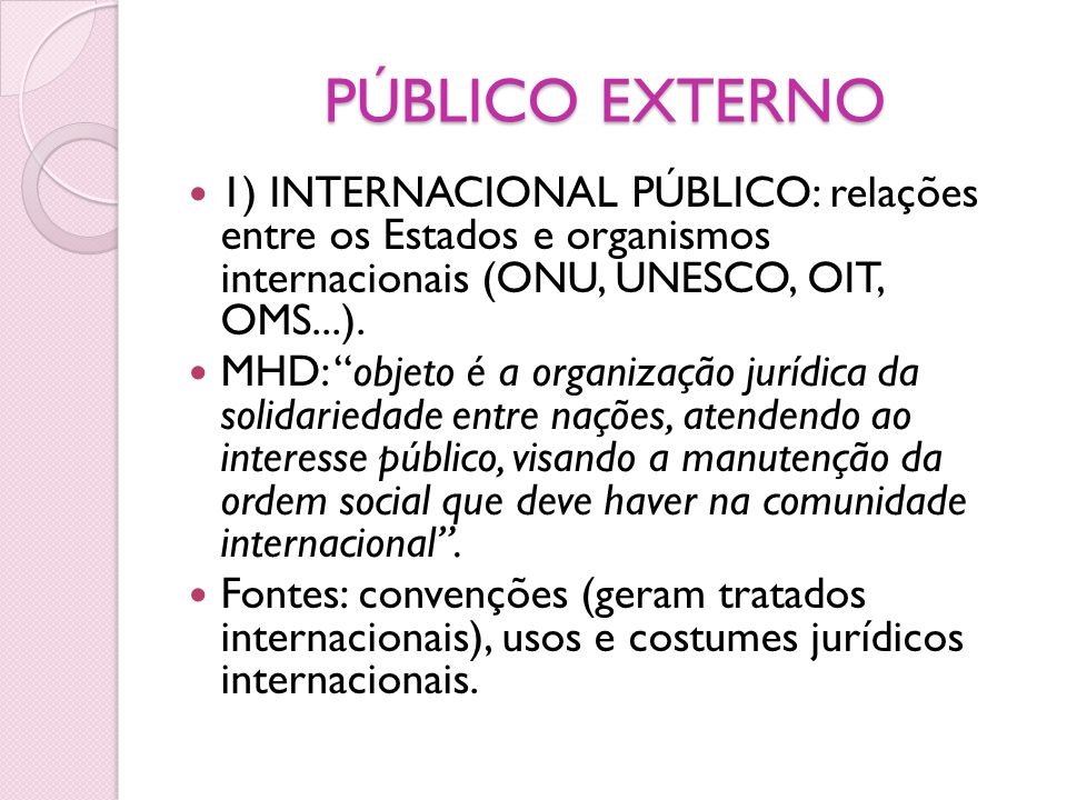 PÚBLICO EXTERNO 1) INTERNACIONAL PÚBLICO: relações entre os Estados e organismos internacionais (ONU, UNESCO, OIT, OMS...).