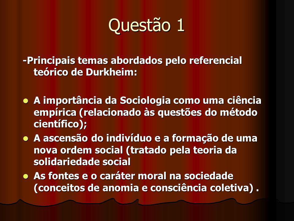 Questão 1 -Principais temas abordados pelo referencial teórico de Durkheim: