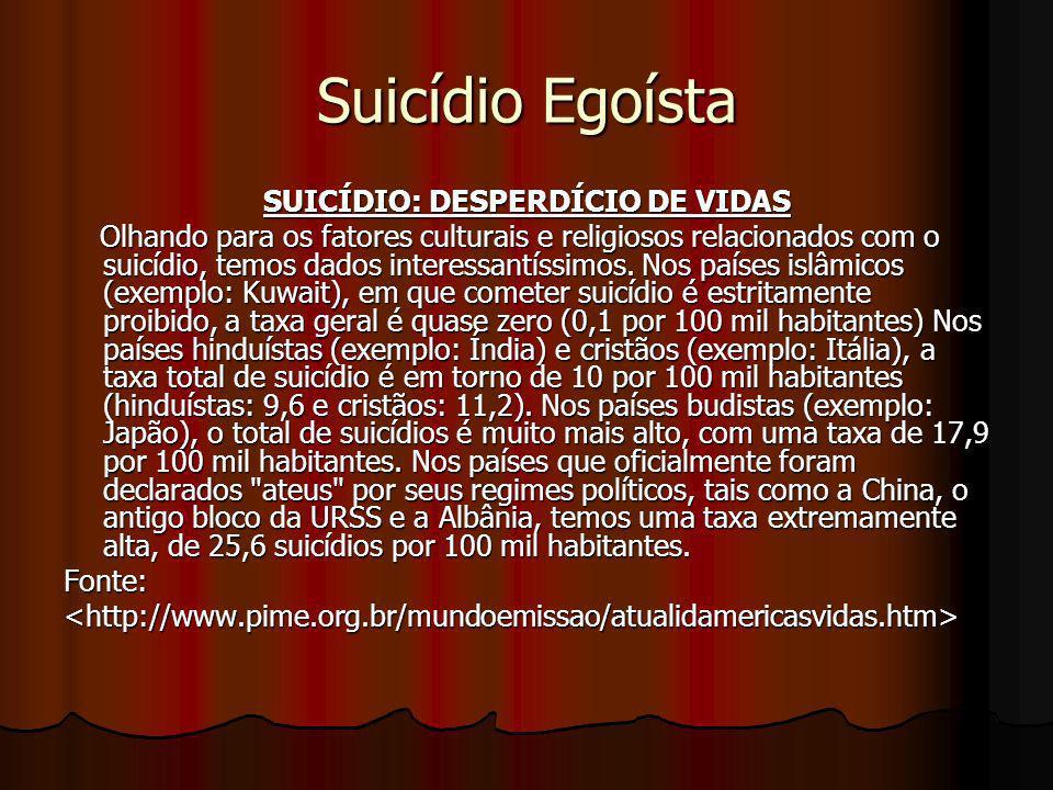 SUICÍDIO: DESPERDÍCIO DE VIDAS