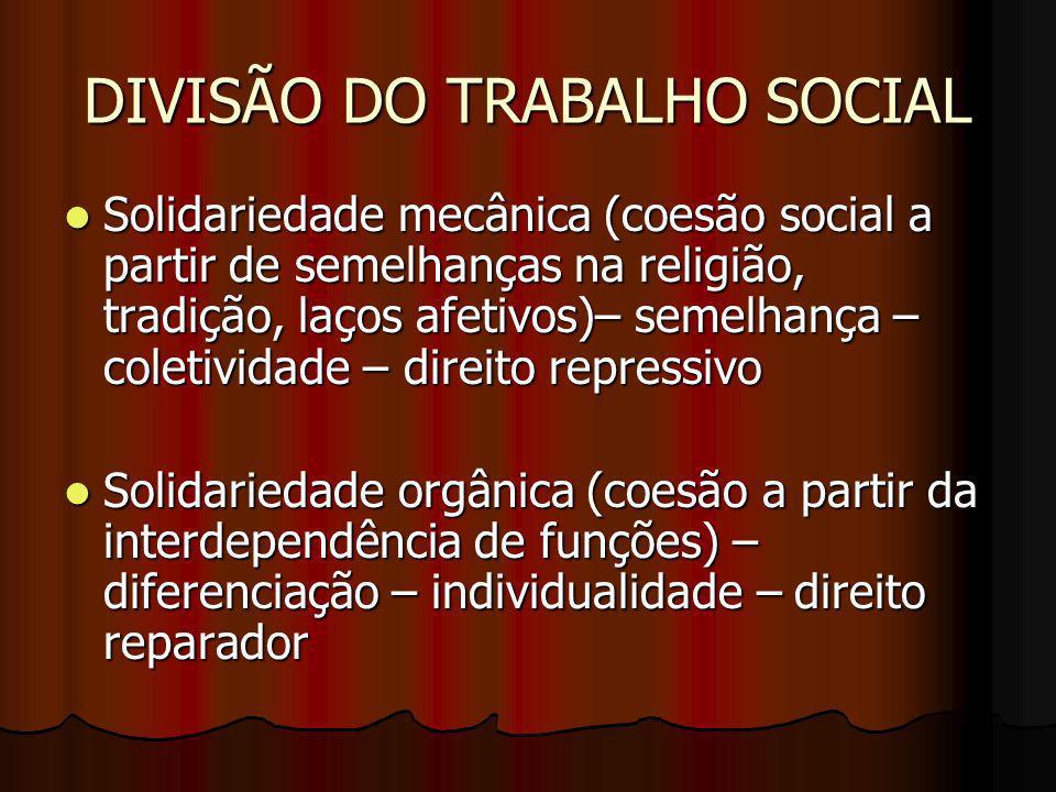 DIVISÃO DO TRABALHO SOCIAL