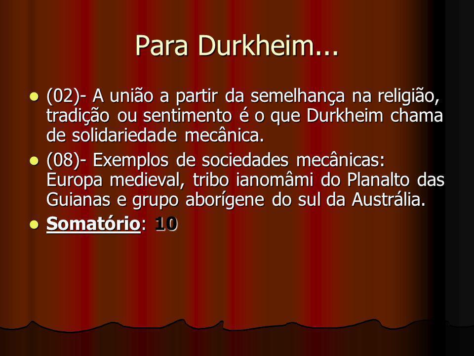 Para Durkheim... (02)- A união a partir da semelhança na religião, tradição ou sentimento é o que Durkheim chama de solidariedade mecânica.