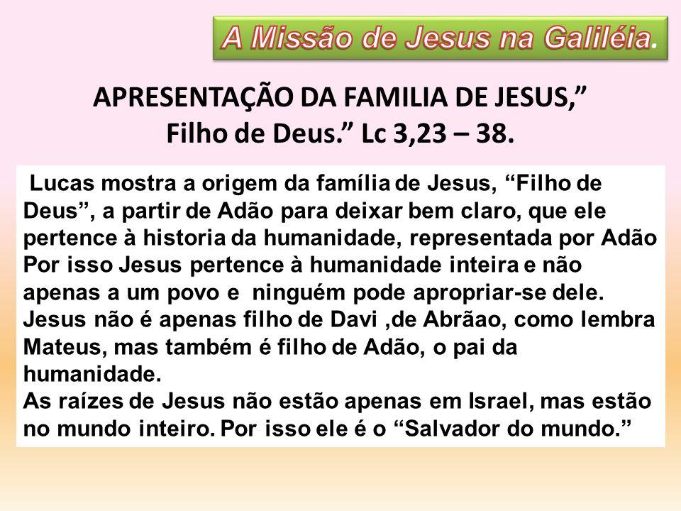 A Missão de Jesus na Galiléia. APRESENTAÇÃO DA FAMILIA DE JESUS,