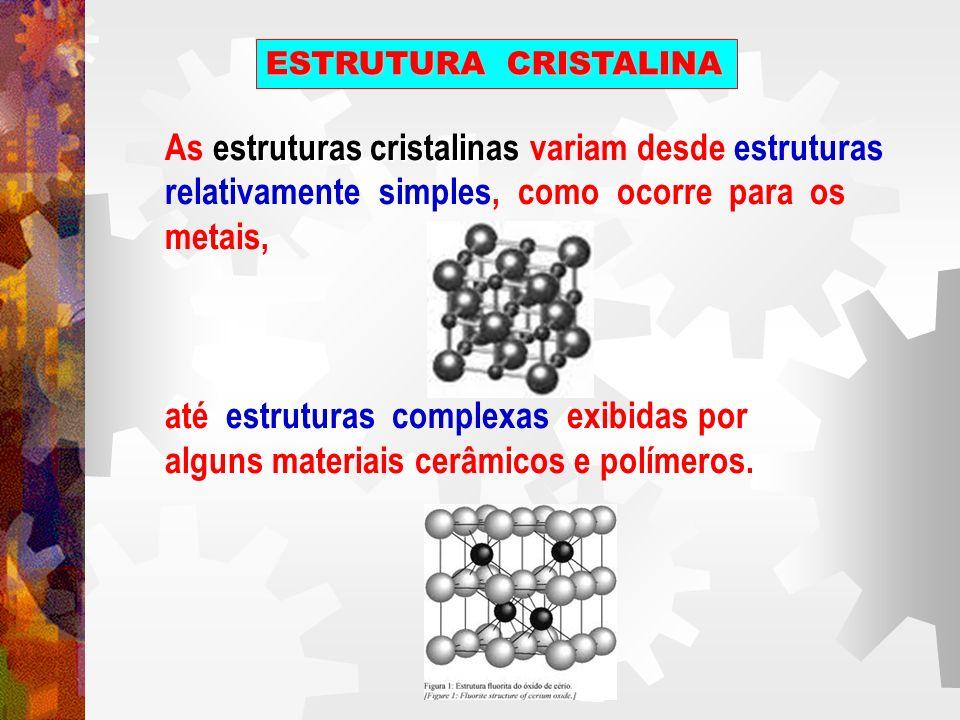 As estruturas cristalinas variam desde estruturas