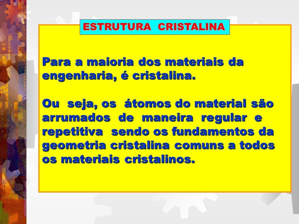 Para a maioria dos materiais da engenharia, é cristalina.