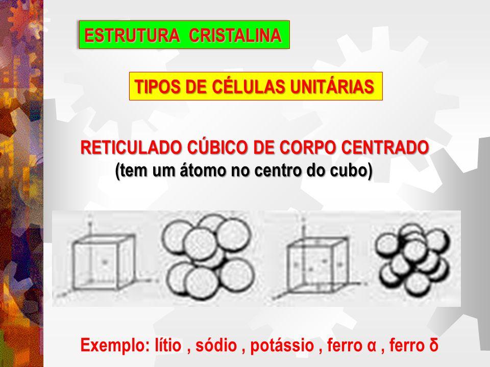 ESTRUTURA CRISTALINA TIPOS DE CÉLULAS UNITÁRIAS. RETICULADO CÚBICO DE CORPO CENTRADO. (tem um átomo no centro do cubo)