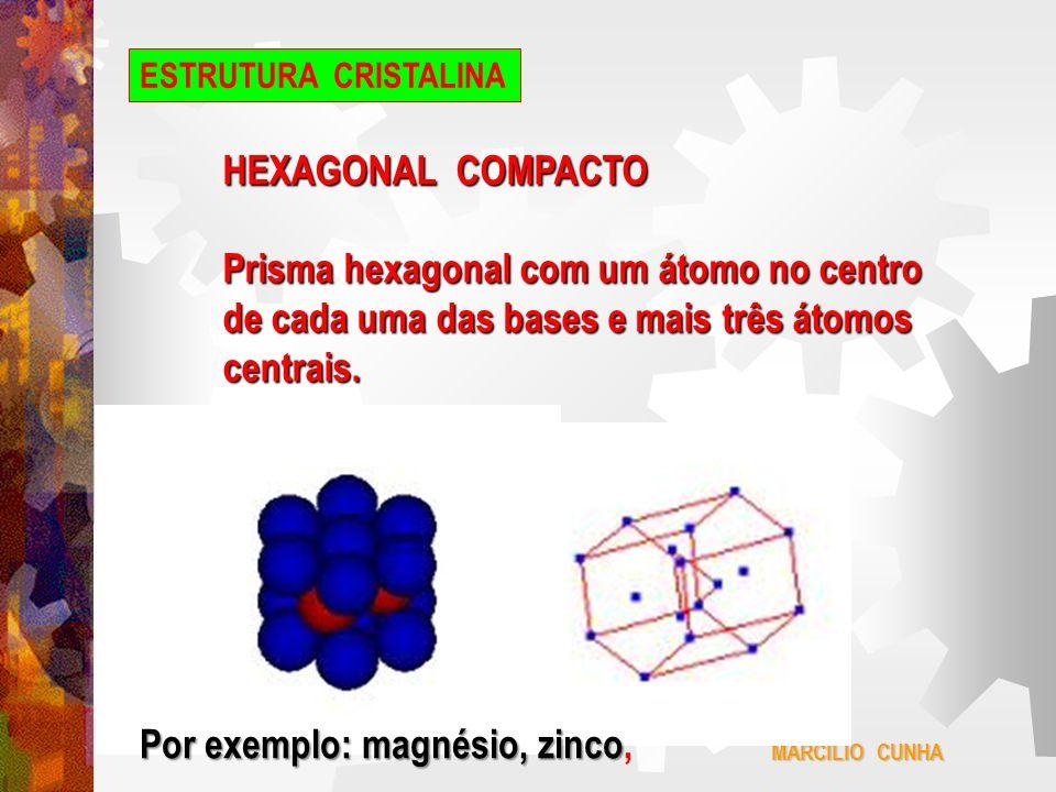 Prisma hexagonal com um átomo no centro