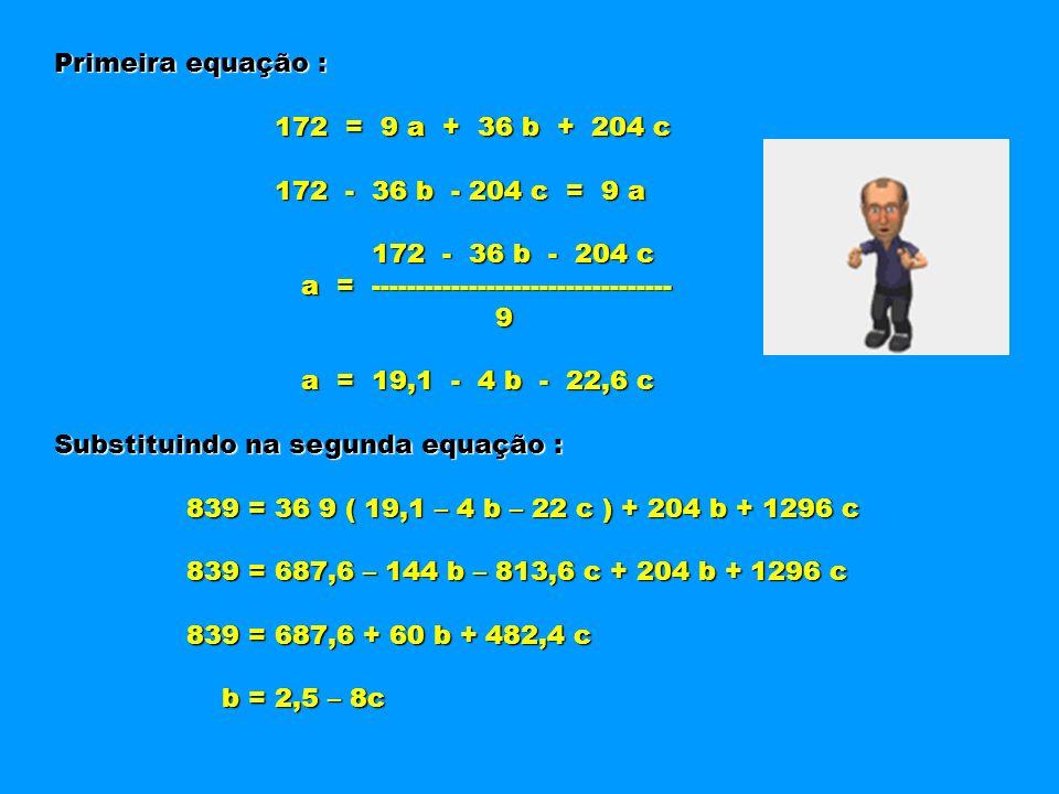 Primeira equação : 172 = 9 a + 36 b + 204 c. 172 - 36 b - 204 c = 9 a. 172 - 36 b - 204 c.