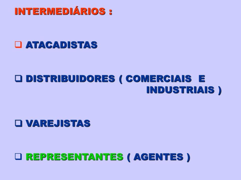 INTERMEDIÁRIOS : ATACADISTAS. DISTRIBUIDORES ( COMERCIAIS E.