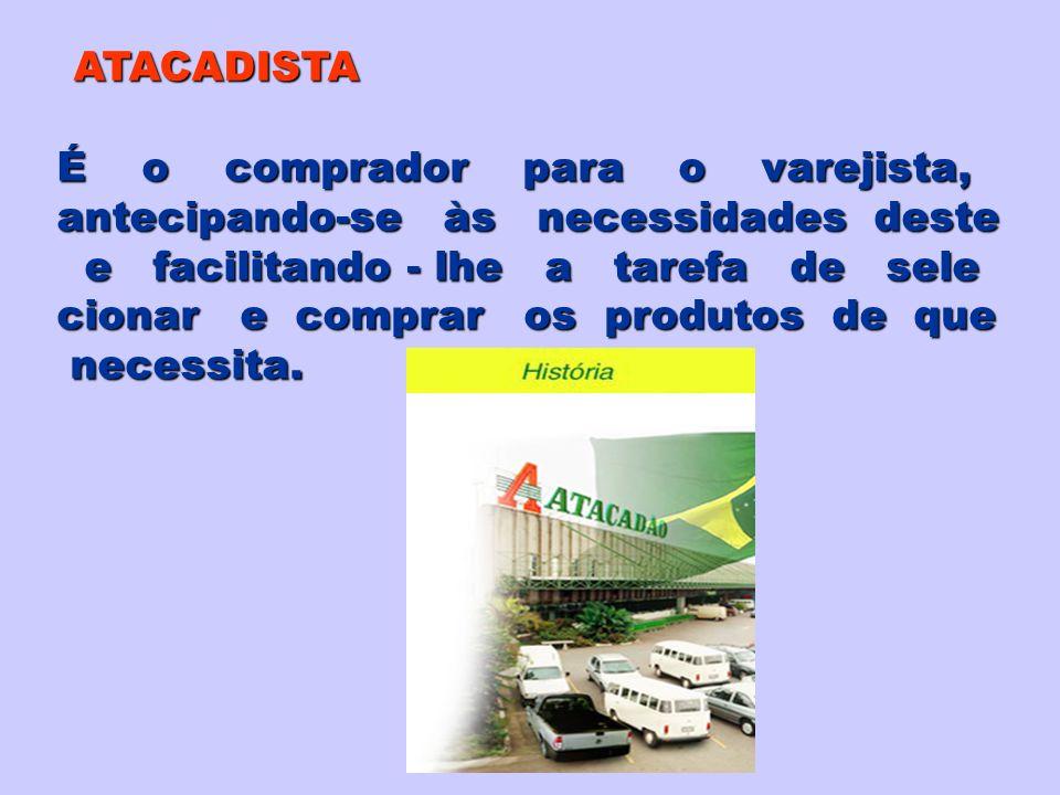 ATACADISTA É o comprador para o varejista, antecipando-se às necessidades deste.