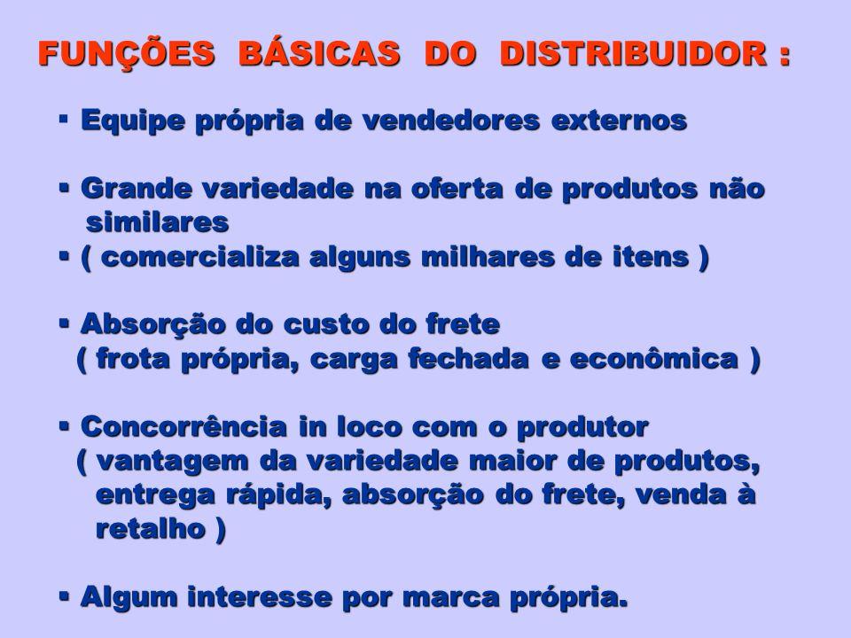 FUNÇÕES BÁSICAS DO DISTRIBUIDOR :