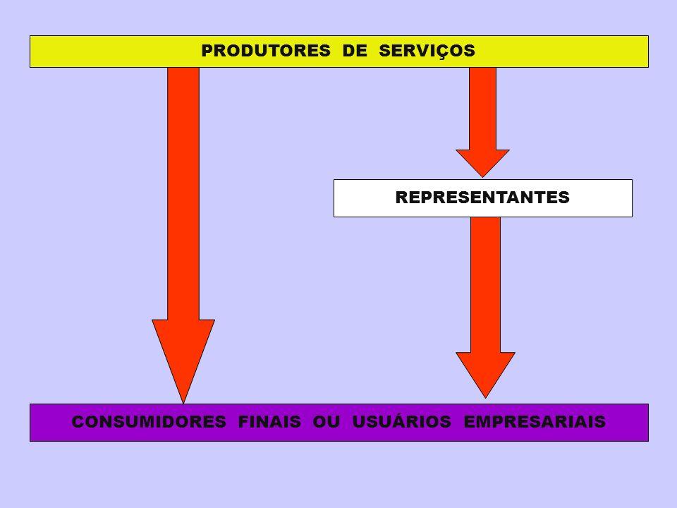 PRODUTORES DE SERVIÇOS CONSUMIDORES FINAIS OU USUÁRIOS EMPRESARIAIS
