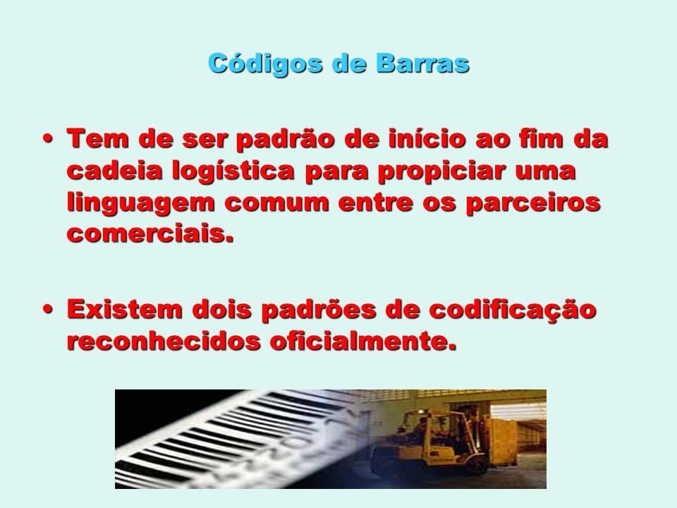 Códigos de BarrasTem de ser padrão de início ao fim da cadeia logística para propiciar uma linguagem comum entre os parceiros comerciais.