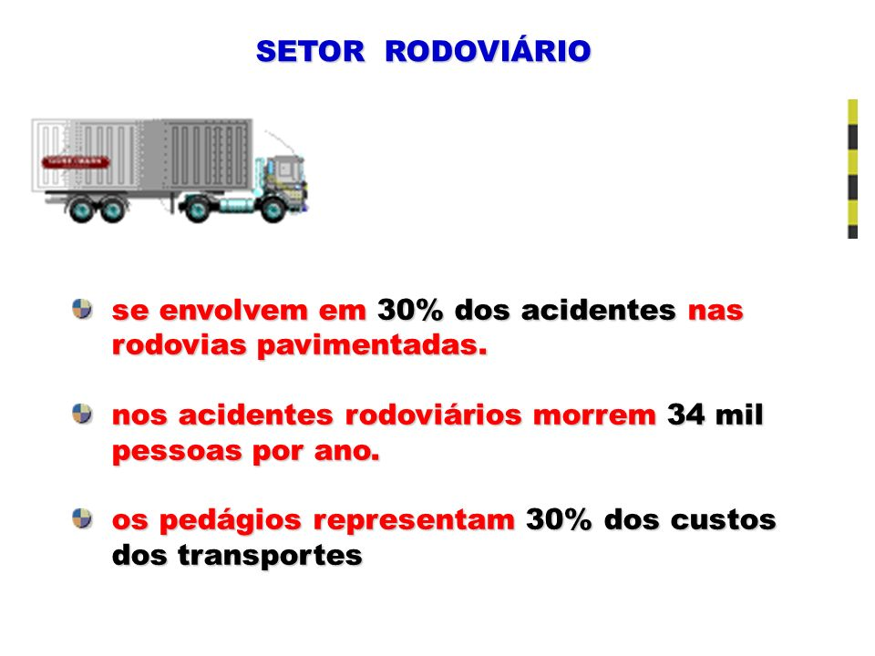 SETOR RODOVIÁRIO se envolvem em 30% dos acidentes nas. rodovias pavimentadas. nos acidentes rodoviários morrem 34 mil.