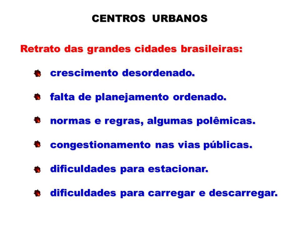 CENTROS URBANOS Retrato das grandes cidades brasileiras: crescimento desordenado. falta de planejamento ordenado.