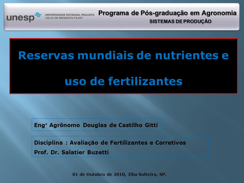 Reservas mundiais de nutrientes e uso de fertilizantes
