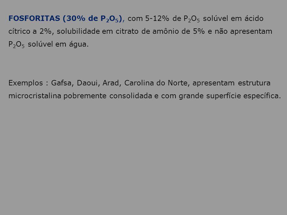 FOSFORITAS (30% de P2O5), com 5-12% de P2O5 solúvel em ácido cítrico a 2%, solubilidade em citrato de amônio de 5% e não apresentam P2O5 solúvel em água.