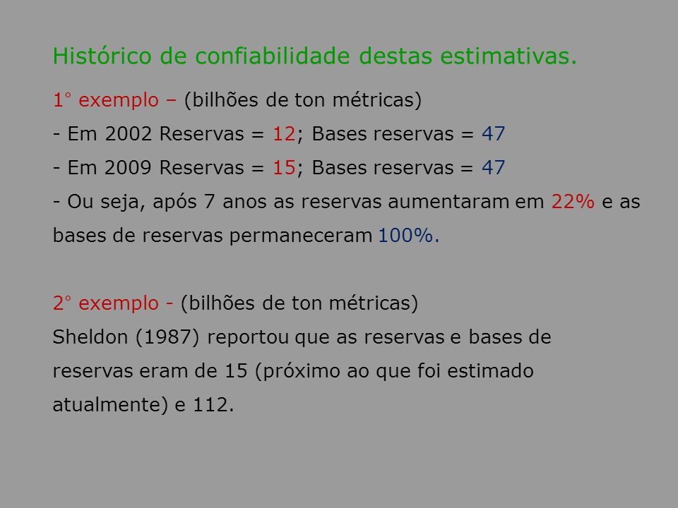Histórico de confiabilidade destas estimativas.