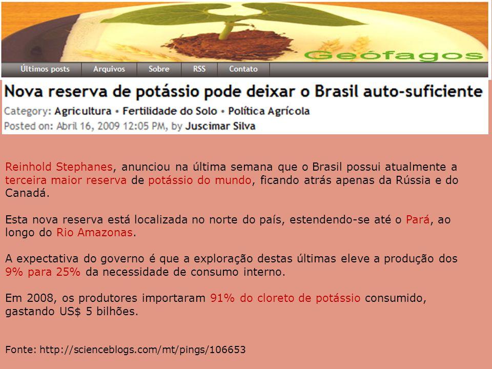 Reinhold Stephanes, anunciou na última semana que o Brasil possui atualmente a terceira maior reserva de potássio do mundo, ficando atrás apenas da Rússia e do Canadá.