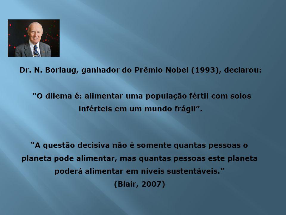 Dr. N. Borlaug, ganhador do Prêmio Nobel (1993), declarou: