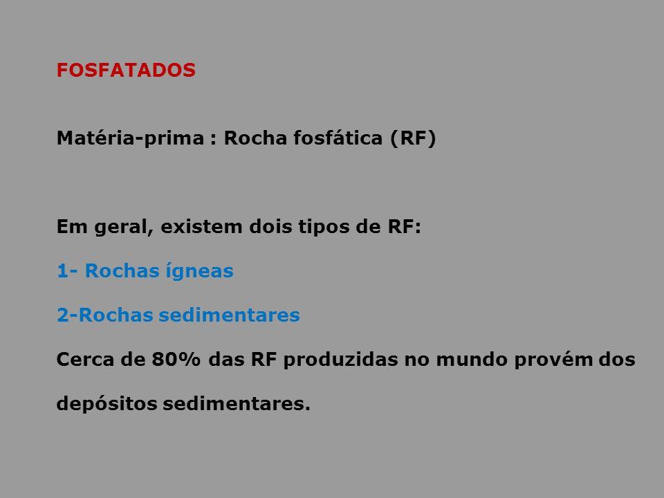 FOSFATADOS Matéria-prima : Rocha fosfática (RF) Em geral, existem dois tipos de RF: 1- Rochas ígneas.