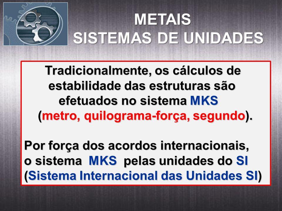 METAIS SISTEMAS DE UNIDADES Tradicionalmente, os cálculos de