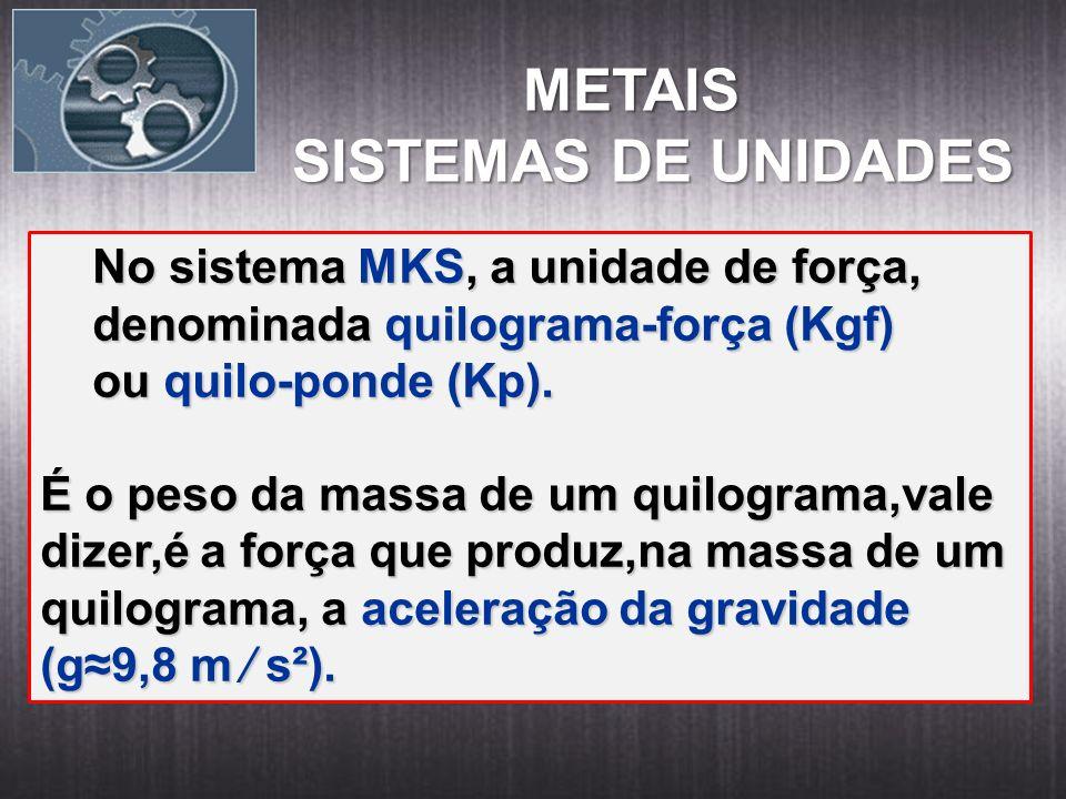 METAIS SISTEMAS DE UNIDADES No sistema MKS, a unidade de força,